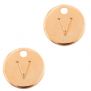 DQ European metal charms initial V Rose Gold (nickel free)
