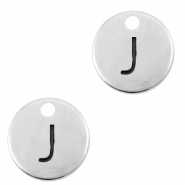 DQ European metal charms initial J Antique Silver (nickel free)