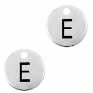 DQ European metal charms initial E Antique Silver (nickel free)