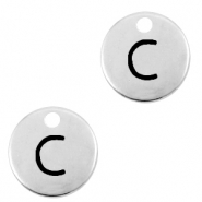 DQ European metal charms initial C Antique Silver (nickel free)