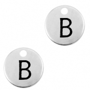 DQ European metal charms initial B Antique Silver (nickel free)