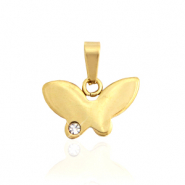 Stainless steel charms butterfly with stone Gold