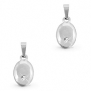 Stainless steel charms oval with stone Silver