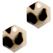 Resin pendants hexagon Cream Black