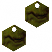 Resin pendants hexagon Olive Green