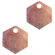 Resin pendants hexagon Sugar Almond Taupe