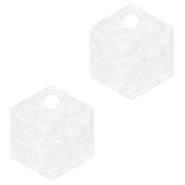 Resin pendants hexagon Bright White