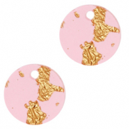 Resin pendants round 12mm Pink Gold-Transparent