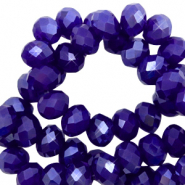 Top faceted beads 8x6mm disc Admiral Blue-Pearl Shine Coating