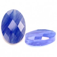 Natural stone beads faceted oval Iolite Blue