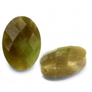 Natural stone beads faceted oval Light Olive Green