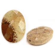 Natural stone beads faceted oval Light Brown
