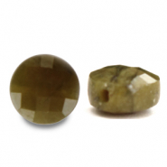 Natural stone beads faceted round 7mm Light Olive Green