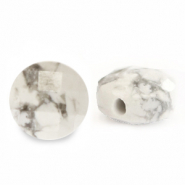 Natural stone beads faceted round 7mm White Marble