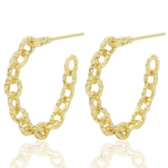 Brass TQ metal earrings creole link Gold