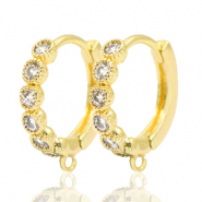 Brass TQ metal earrings rhinestones closable with loop Gold