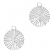 Brass TQ metal charms round 10mm Silver