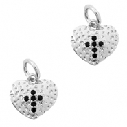 Brass TQ metal charms heart with cross Silver-Black