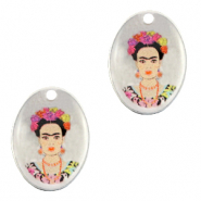 DQ European metal charms oval Frida Kahlo Antique Silver (nickel free)
