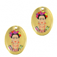 DQ European metal charms oval Frida Kahlo Antique Bronze (nickel free)