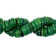 Shell beads disc 9mm Dark Eden Green