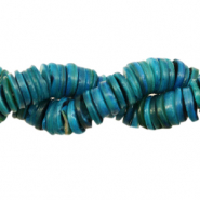 Shell beads disc 9mm Petrol Blue