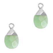 Natural stone charms Ocean Green-Silver