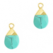Natural stone charms Turquoise-Gold