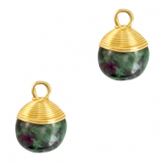 Natural stone charms wire wrapped Dark Green Marble-Gold