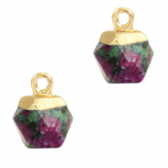 Natural stone charms hexagon Dark Green Marble-Gold