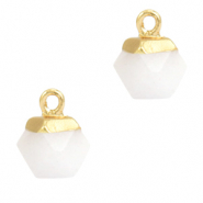 Natural stone charms hexagon White-Gold