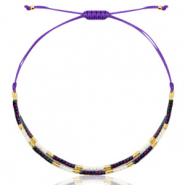 Ready-made Bracelets Miyuki Purple-Black AB/White