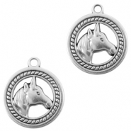 DQ European metal charms horse 25mm Antique Silver (nickel free)
