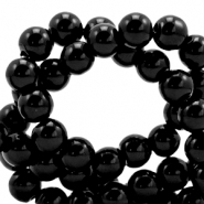 6 mm glass beads opaque Black