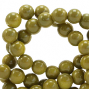 6 mm glass beads opaque Dusty Olive