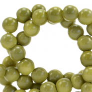 6 mm glass beads opaque Green Olive