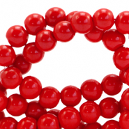 6 mm glass beads opaque Fiery Red