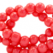 8 mm glass beads opaque Coral Red