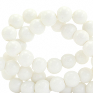 8 mm glass beads opaque White