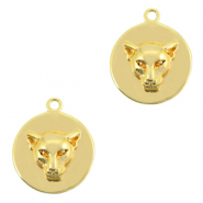 Brass TQ metal charms Leopard Gold