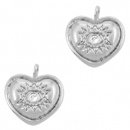 Brass TQ metal charms heart Eye of Providence rhinestone Silver