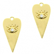 Brass TQ metal charms heart Eye of Providence rhinestone Gold