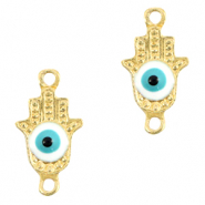 Metal charms/connectors Hamsa hand Evil eye Gold-Light Blue