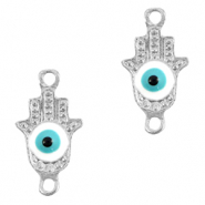 Metal charms/connectors Hamsa hand Evil eye Silver-Light Blue