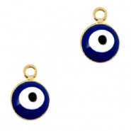 Metal charms 6mm Evil eye Gold-Blue