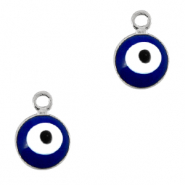 Metal charms 6mm Evil eye Silver-Blue