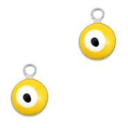 Metal charms 6mm Evil eye Silver-Yellow
