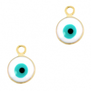 Metal charms 6mm Evil eye Gold-White