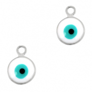Metal charms 6mm Evil eye Silver-White