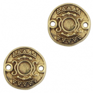 DQ European metal charms connector Ethnic with setting for SS20 flatback Antique Bronze (nickel free)
